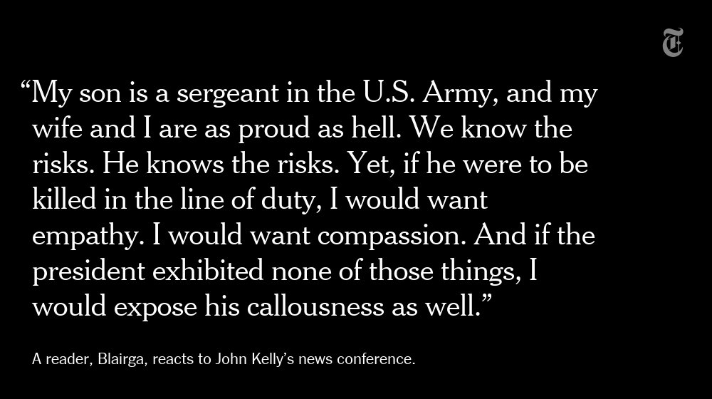 Military members and their families respond to John Kelly's news conference https://t.co/xxI2CY4GQD https://t.co/0DnlZCEM3Q