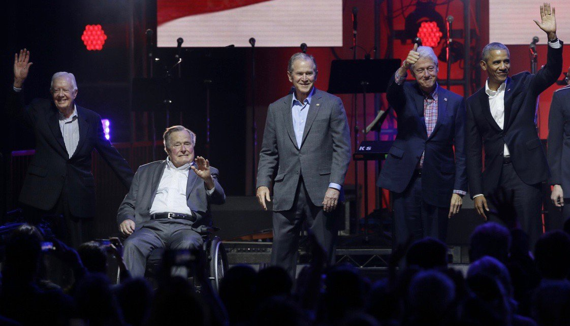 Five Presidents tonight at hurricanes relief concert, College Station, Texas #AP
