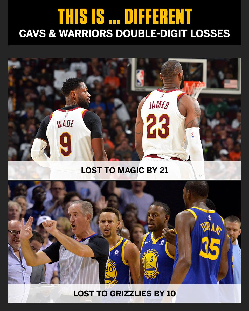 The Warriors and Cavs losing by double digits on the same day?It hadn't happened since Christmas 2014.