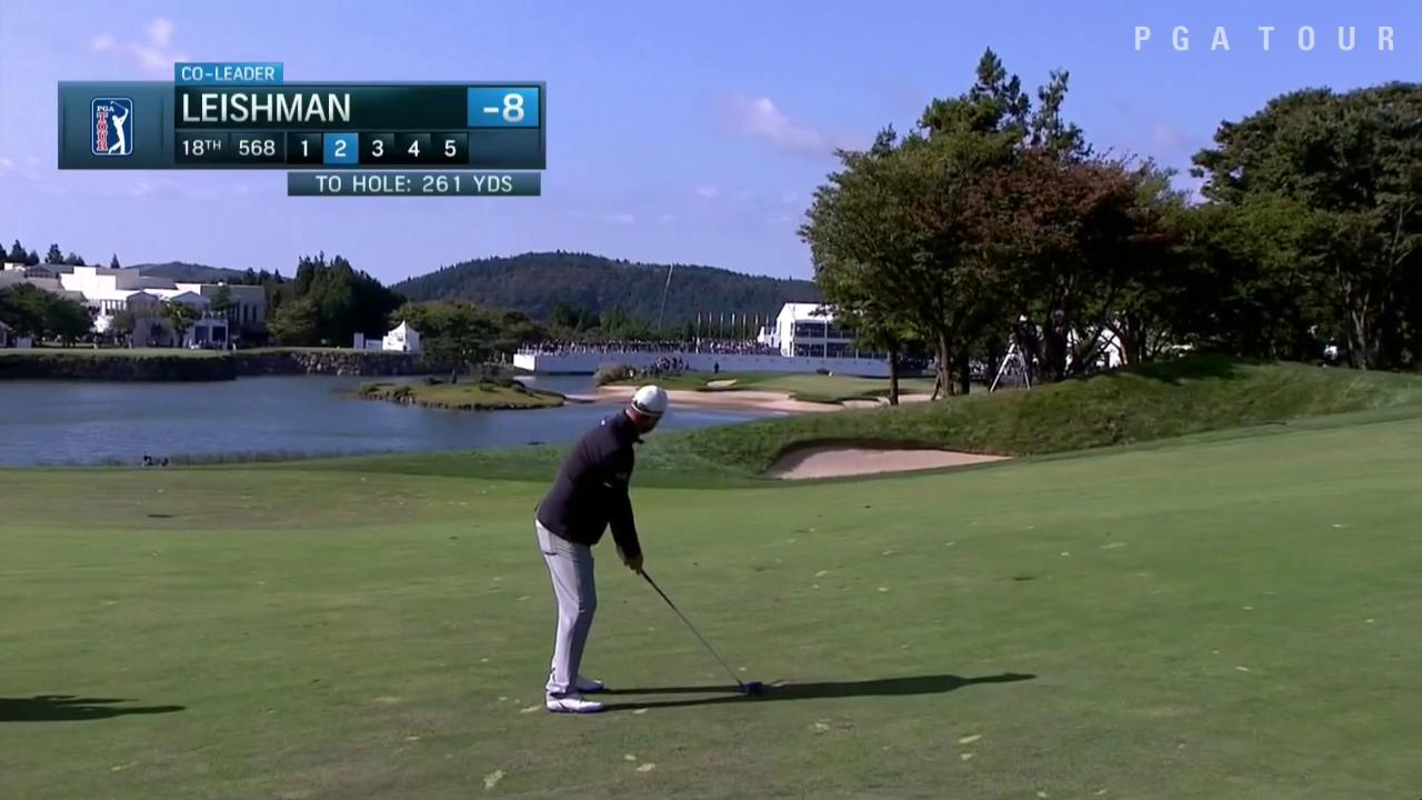 Pressure? What pressure?  @marcleish throws a dart from 261 yards on the 72nd hole. ��  #QuickHits https://t.co/2h2re44ffl