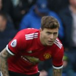 Manchester United manager Jose Mourinho reacts to Victor Lindelof performance