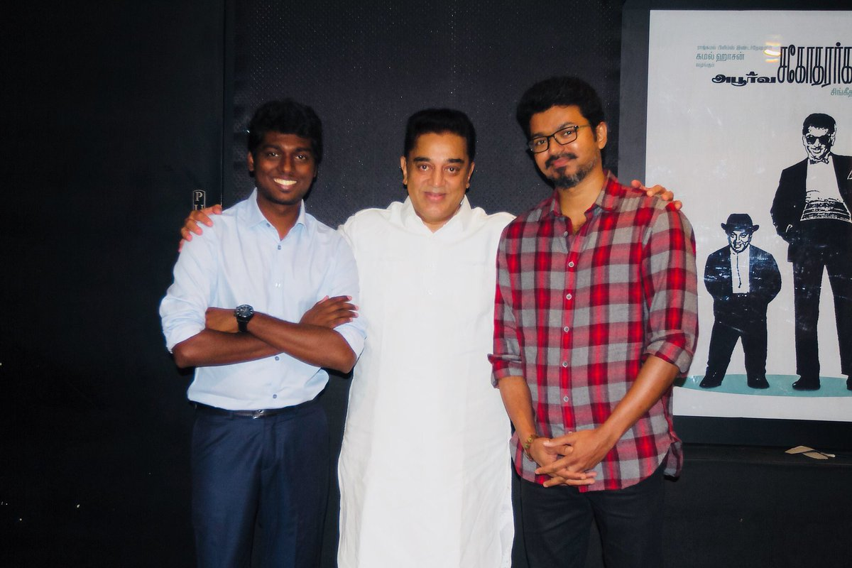 Watched #Mersal with @ikamalhaasan sir one of the best moment in lifeThanks for the wishes and blessings sir
