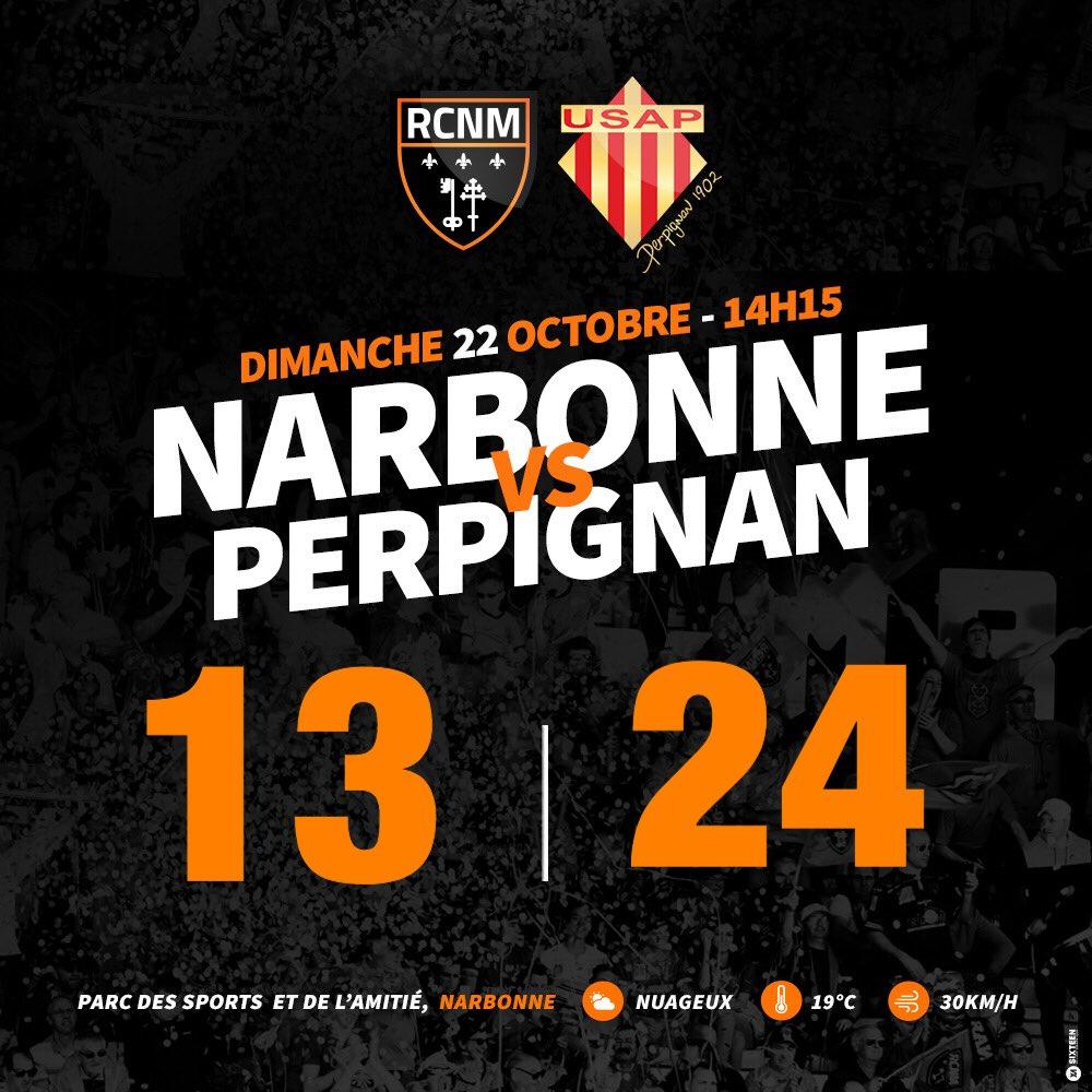 La fin de la rencontre est sifflée. Le #RCNM s'incline face à Perpignan...