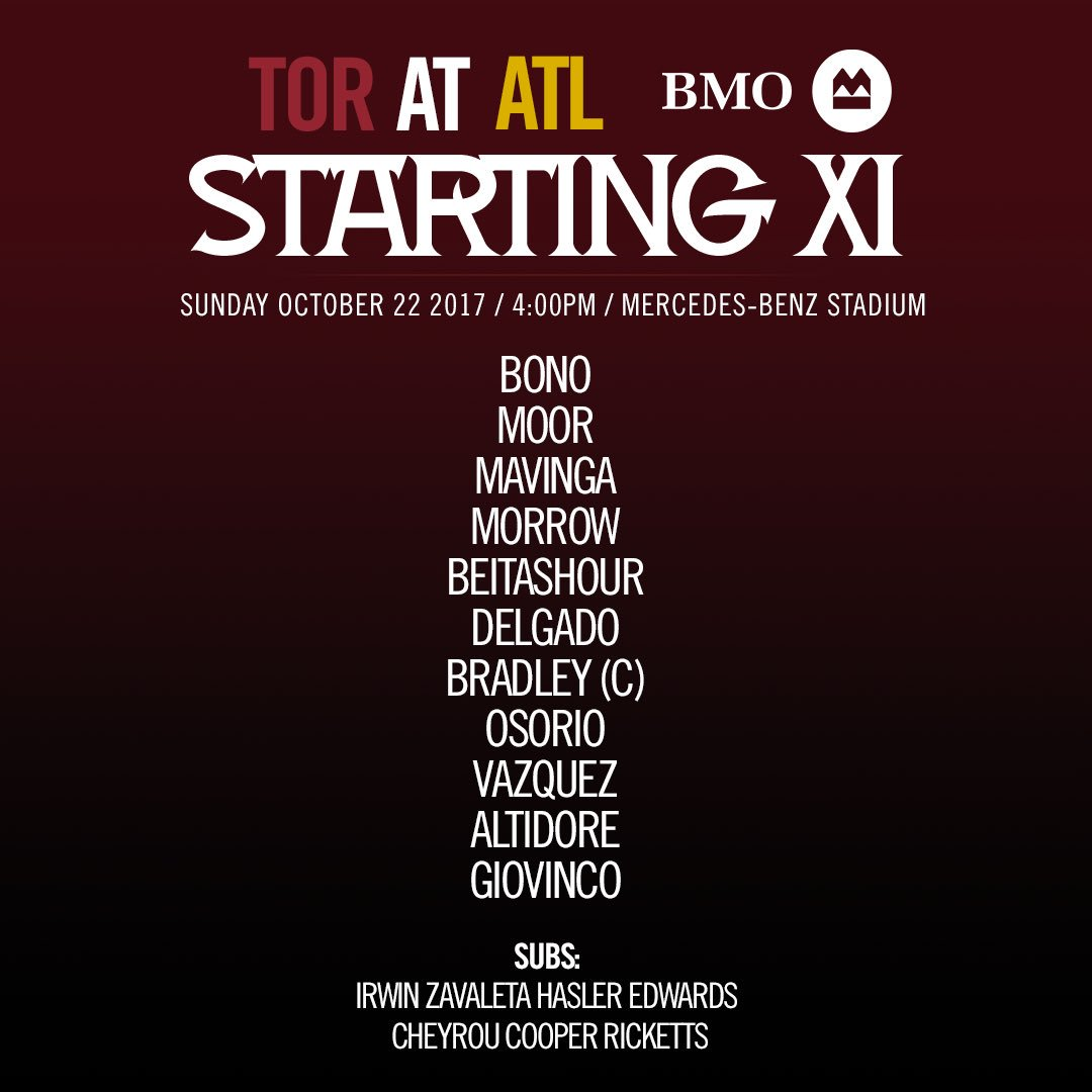 One more. Let's take itHere's this evening's @BMO starting XI vs. @ATLUTD#TFCLive | #ATLvTOR