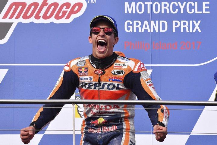 @BroadcastImagem: Marc Márquez vence na Austrália e fica próximo de mais um título da MotoGP. Andy Brownbill/AP