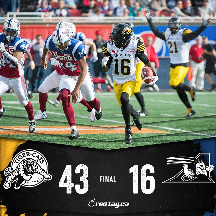 FINAL! #TICATS 43, #ALSMTL 16A beautiful day in Montreal!STATS >#CFLGameDay