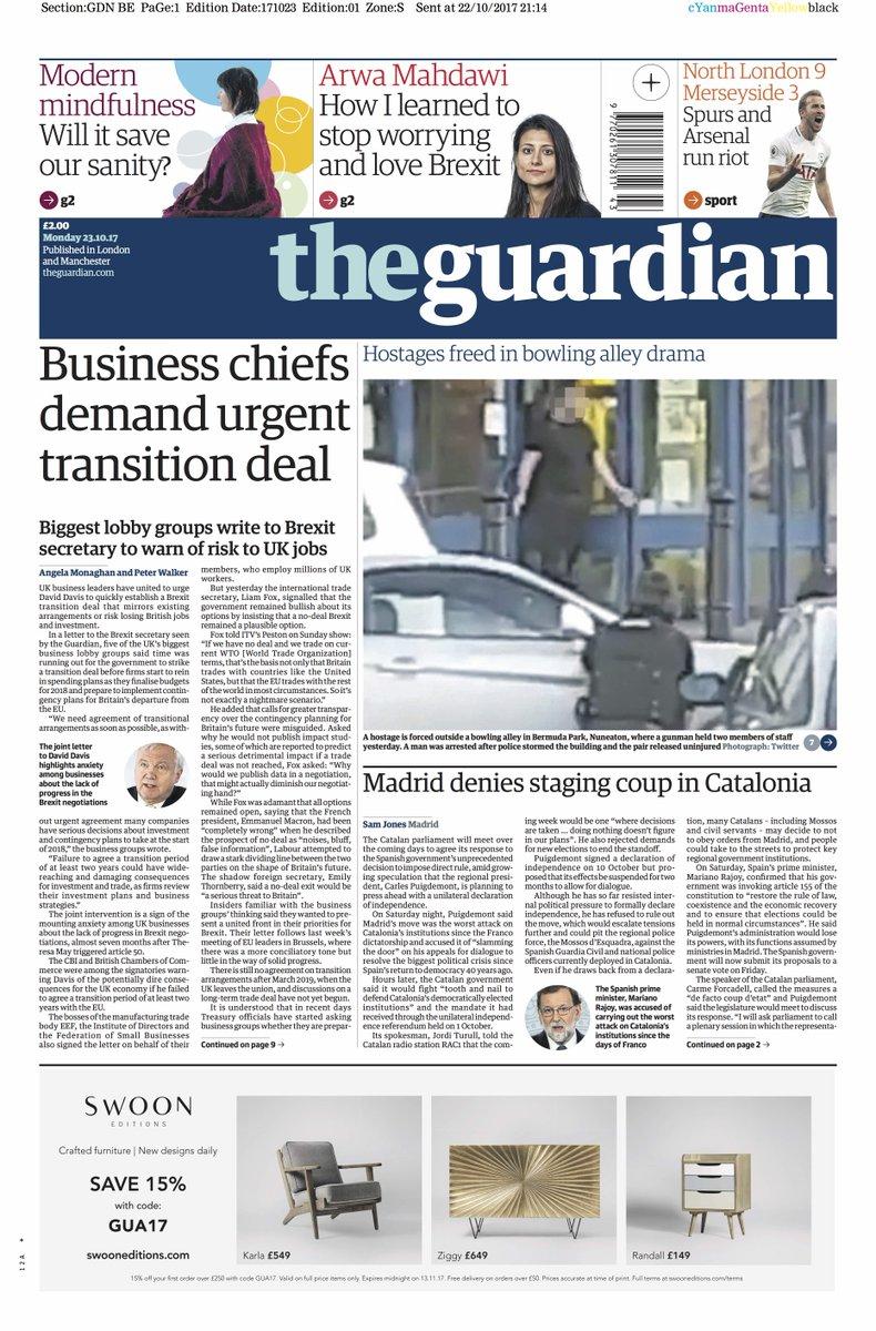 Guardian front page, Monday 23 October 2017: Business chiefs demand urgent transition deal https://t.co/fgxXVSHuaK