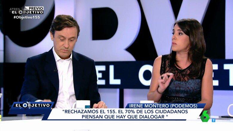 """.@Irene_Montero_  """"Indigna ver al PSOE de nuevo con el PP cuando dijo que no apoyaría el 155"""" #Objetivo155"""