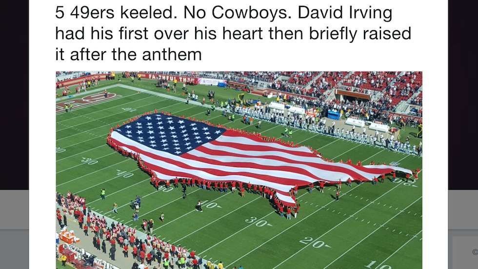 San Francisco 49ers players kneel during national anthem as team unveils US-shaped flag