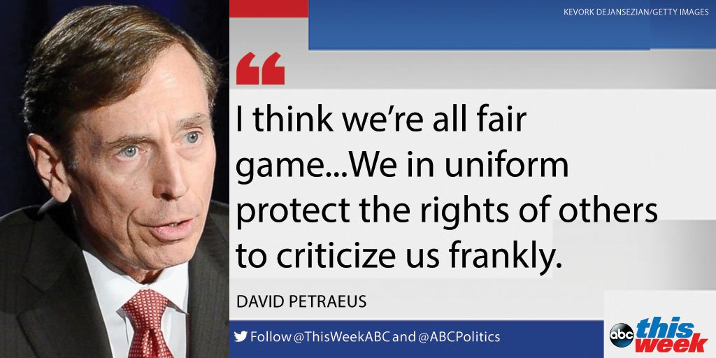 """Retired four-star Gen. David Petraeus says the military protects Americans' rights """"to criticize us."""" https://t.co/pB3E4xqxYU https://t.co/ZtIwlMa4tD"""