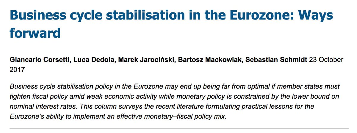 Business cycle stabilisation in the Eurozone  @voxeu https://t.co/OXrJXmsXNh https://t.co/c7hJNzSEeP