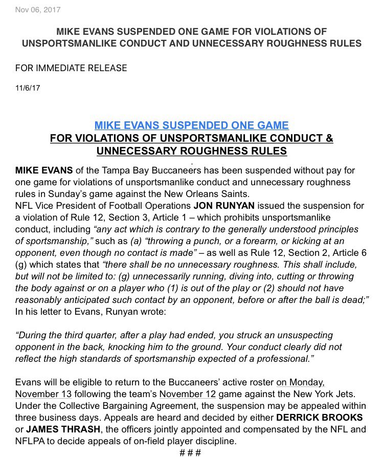 Here is the official announcement on the 1-game suspension for #Bucs WR Mike Evans for the blindside hit on @shonrp2 https://t.co/bR3jlyoE4P
