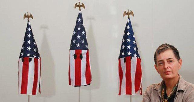 Professor's Artwork Turns U.S. Flags Into KKK-StyleHoods