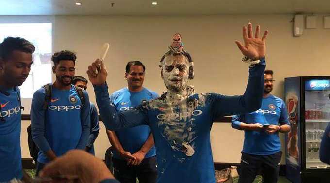 Happy Birthday Virat Kohli: Indian captain smeared with cake in dressing room, watchvideo