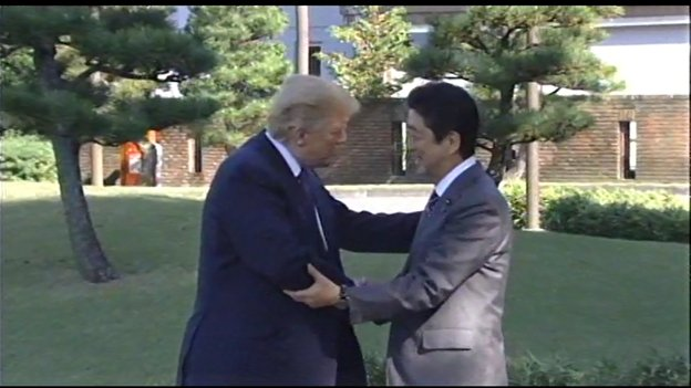 Handshakes and smiles as PM Abe welcomes Pres Trump to Japan, first stop on his 5-nation Asia trip. https://t.co/zyg9aO8zuk
