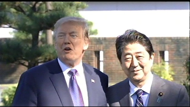 'We're ready,' replied a smiling Pres Trump, when asked if he's ready for some golf today with Prime Minister. https://t.co/niUWinN6Iy
