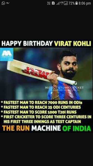 HAPPY BIRTHDAY CRICKET MASTER BLASTER VIRAT KOHLI