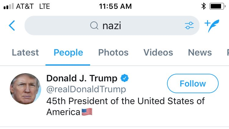 Twitter blocking searches for bisexuality, but nazi searches are still fine. cc: @realDonaldTrump https://t.co/nPHJAXDqLU