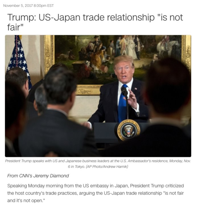 "US President Donald Trump on US-Japan trade relationship: ""Not fair and it's not open"""