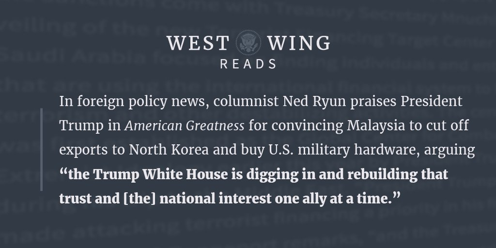 We rounded up what the West Wing staff was reading today, take a look: https://t.co/VoojPy0wsD https://t.co/BkqIX05KvZ