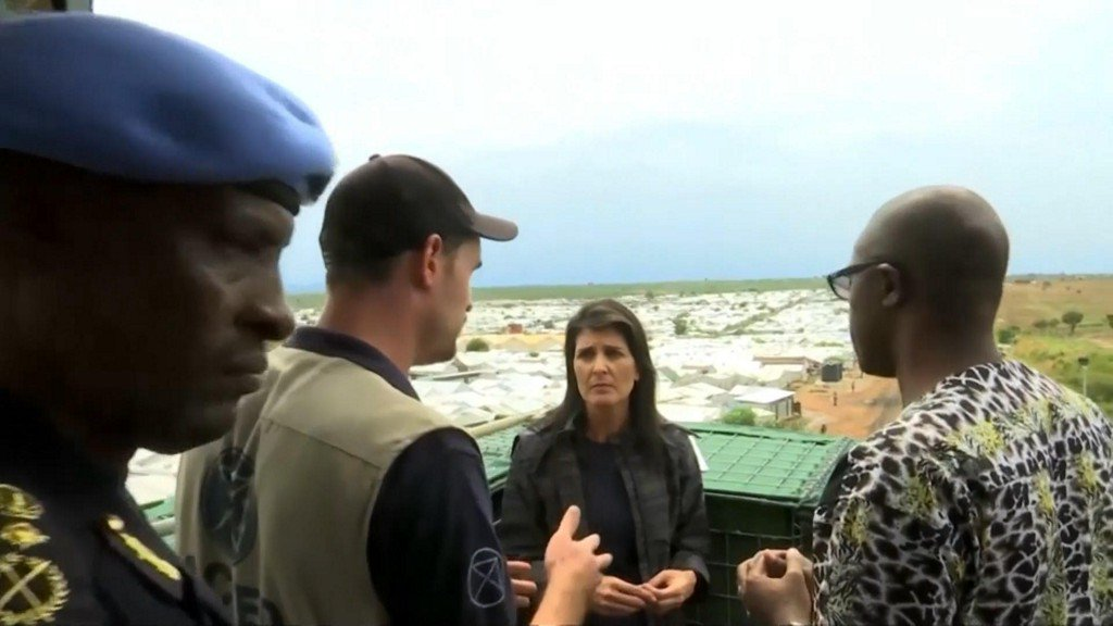 Nikki Haley, U.S. ambassador to United Nations, evacuated from South Sudan camp