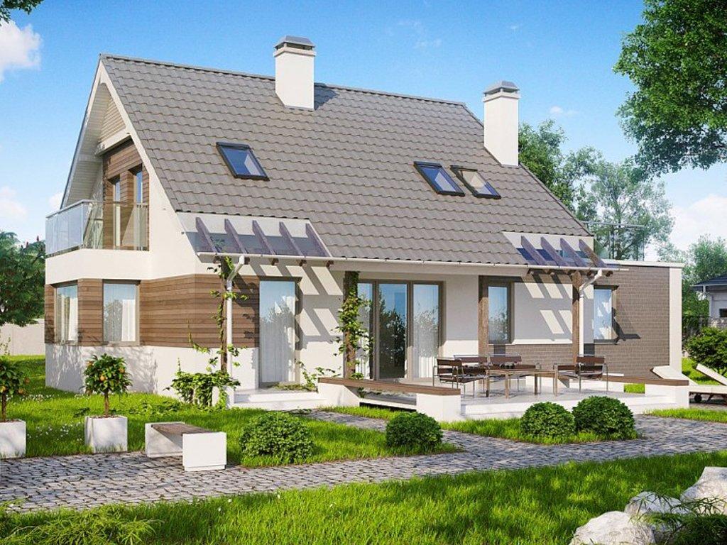 Проект дома z231: одноэтажный дом с двускатной крышей мансар.
