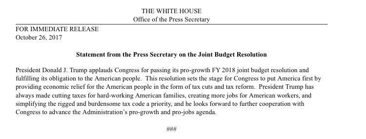 Budget passes house. Momentum for tax cuts growing. #TaxCuts #TaxReform https://t.co/RWEyuJVaeT