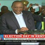 President Uhuru Kenyatta casts his vote in Gatundu, Kiambu County