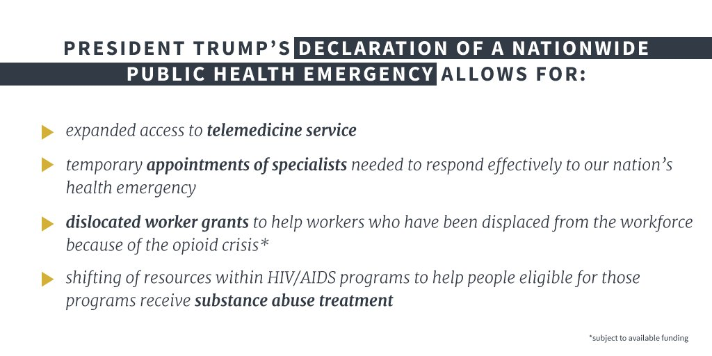 President Trump declared a Nationwide Public Health Emergency to address the opioid crisis: https://t.co/4vXKFcHf8m https://t.co/5WAp7Zuhao