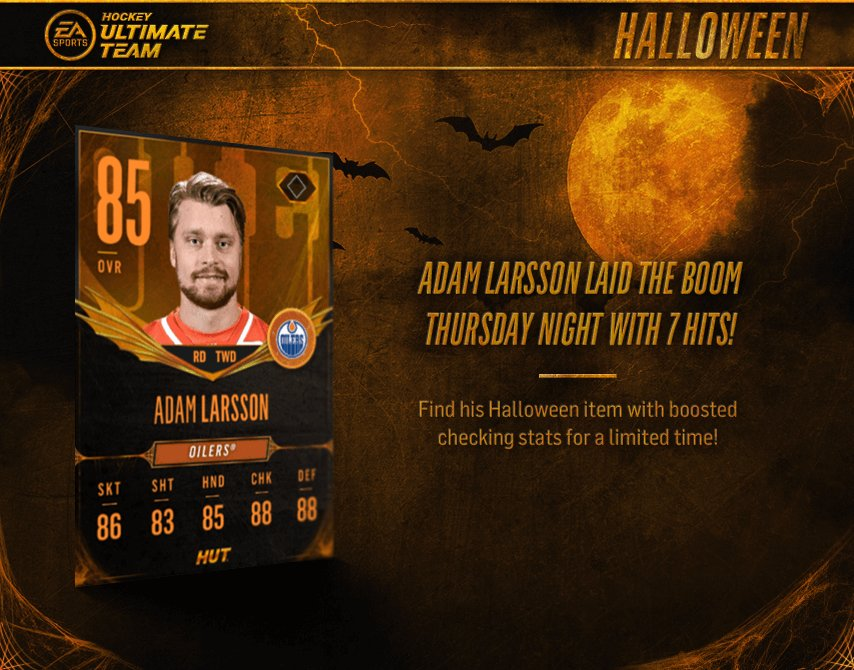 .@AdamLarsson3 with the boom�� last night  Find his #HUTHalloween item in #NHL18 now. https://t.co/O9qcV0YAHa