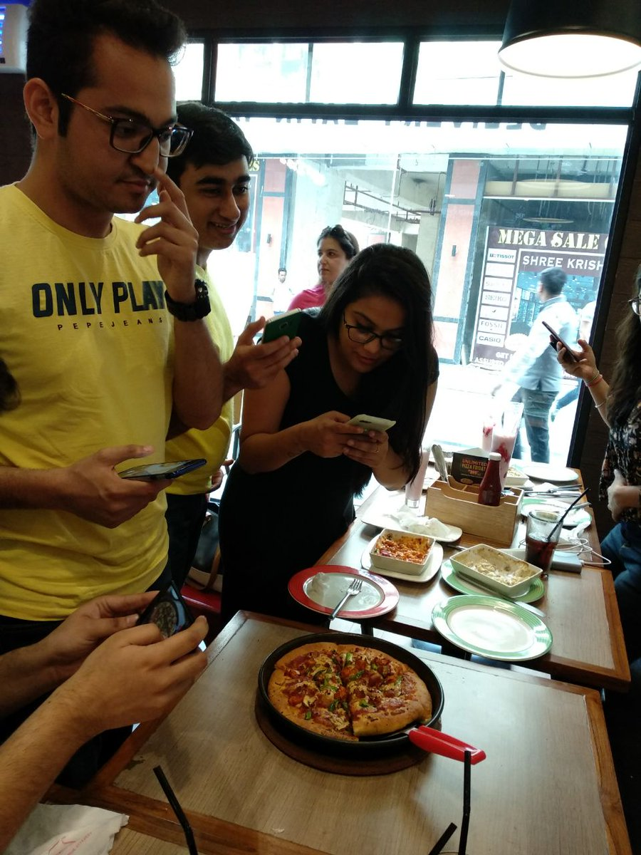 Bloggers meet at IHC, Ghaziabad store s launch. What s better than pizzas More pizzas ThinkPizzaThinkPizzaHut https t