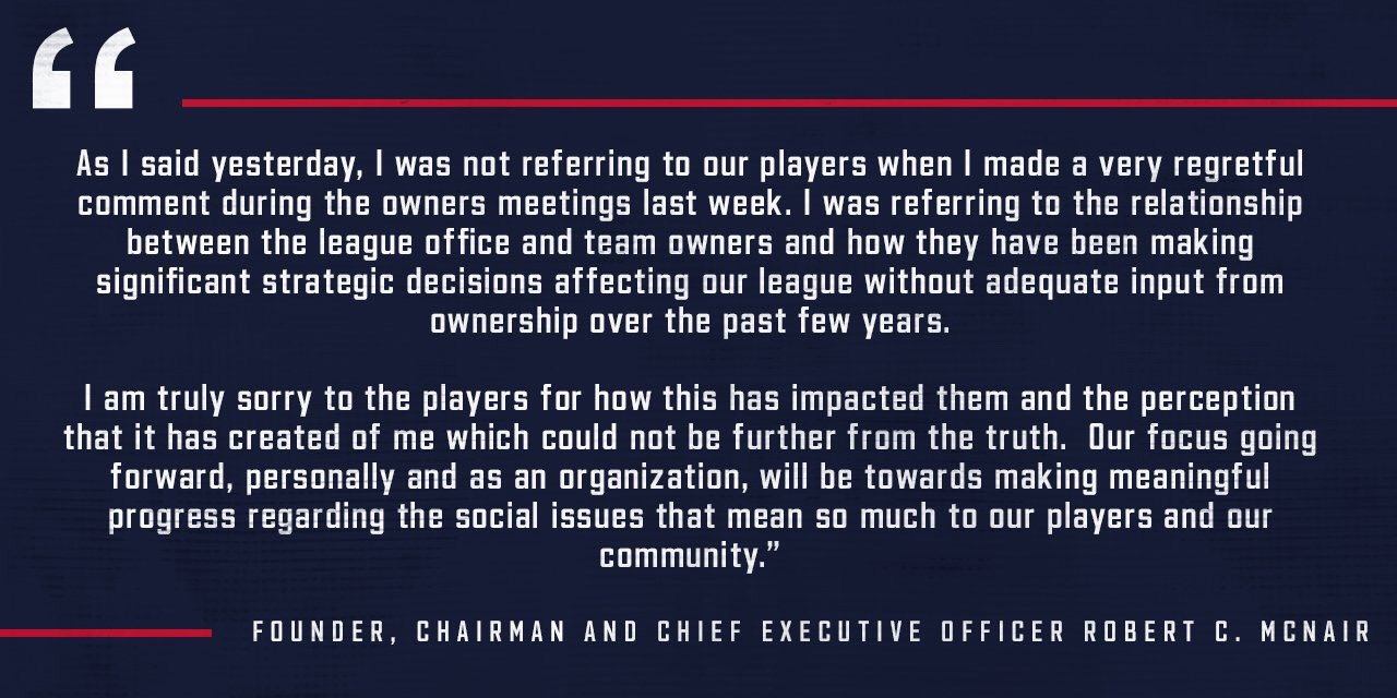 A new statement from #Texans owner Bob McNair, who met with players today and apologized for his comments https://t.co/2KG7gVdZGj