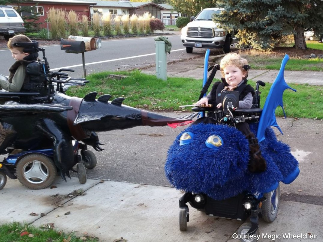 Children receive specially designed wheelchair costumes to give them a magical Halloween.