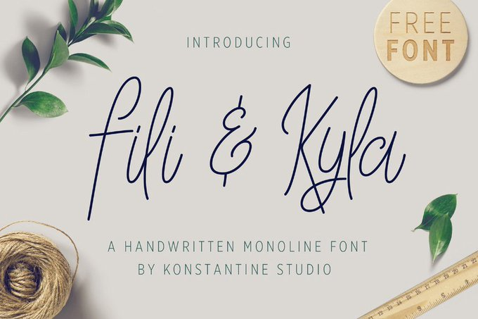 Fili & Kyla Monoline Free Font Fonts freebies design MarameStudio