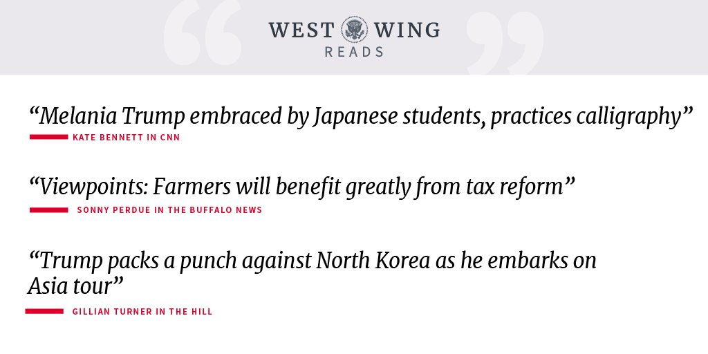 Catch up on what the West Wing staff is reading today: https://t.co/yEy0r64FWU https://t.co/FWj5l4U2s6