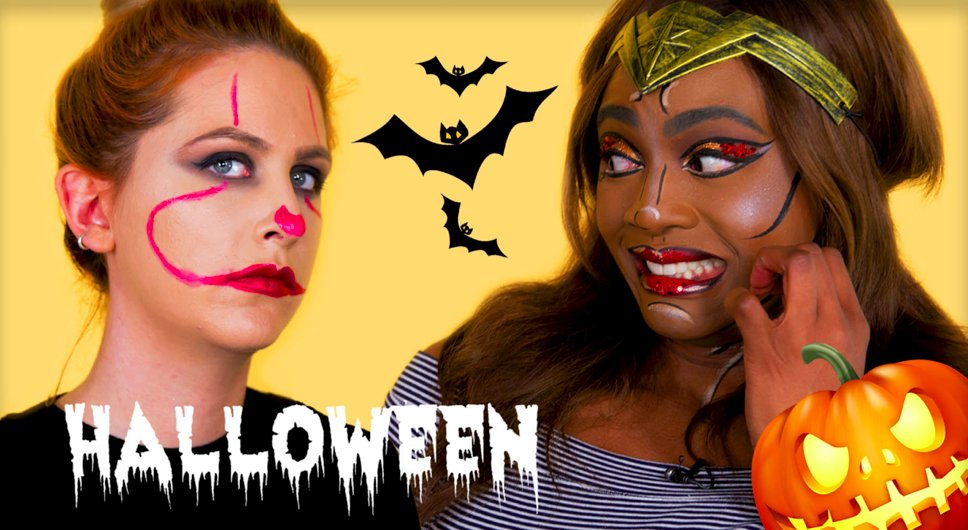 LAST MINUTE HALLOWEEN MAKEUP?! Two looks using *only* the product in our makeup bags...