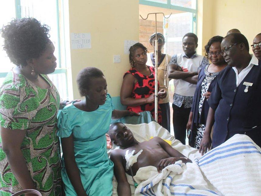 Homa Bay police victim sits exam in hospital