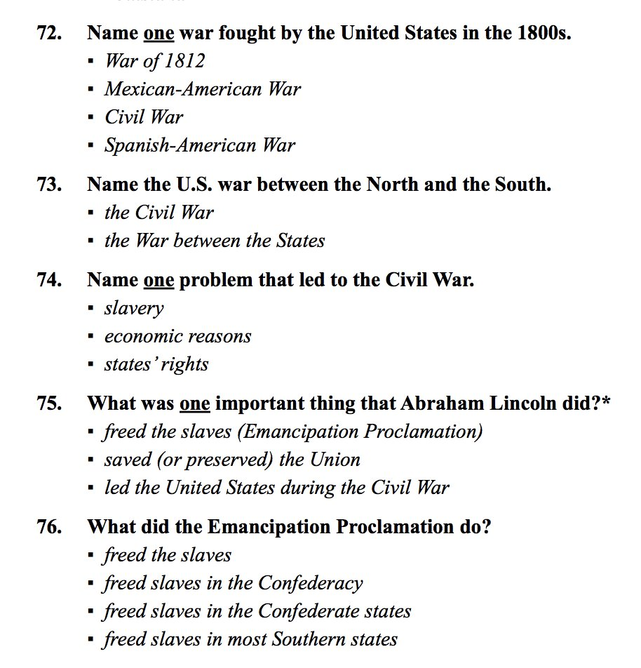 The Civil War questions (and answers) on the USCIS Naturalization Test  https://t.co/J3fKTBYG31 https://t.co/eSw7dCGey1