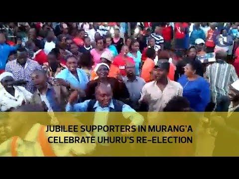 Jubilee supporters in Murang'a celebrate Uhuru's re-election