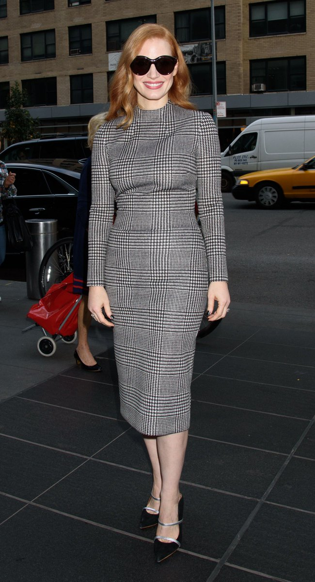 .@jes_chastain wearing Ralph Lauren Fall 2017 Collection in New York City. #RLFall2017 https://t.co/FWm1llfYpe