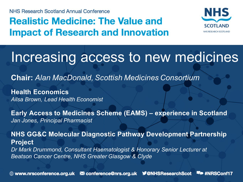 Scottish Medicines Consortium and @CRUK_BI @NHSGGC present on increasing access to new medicines at #NRSConf17. https://t.co/bh2wJgFDD6