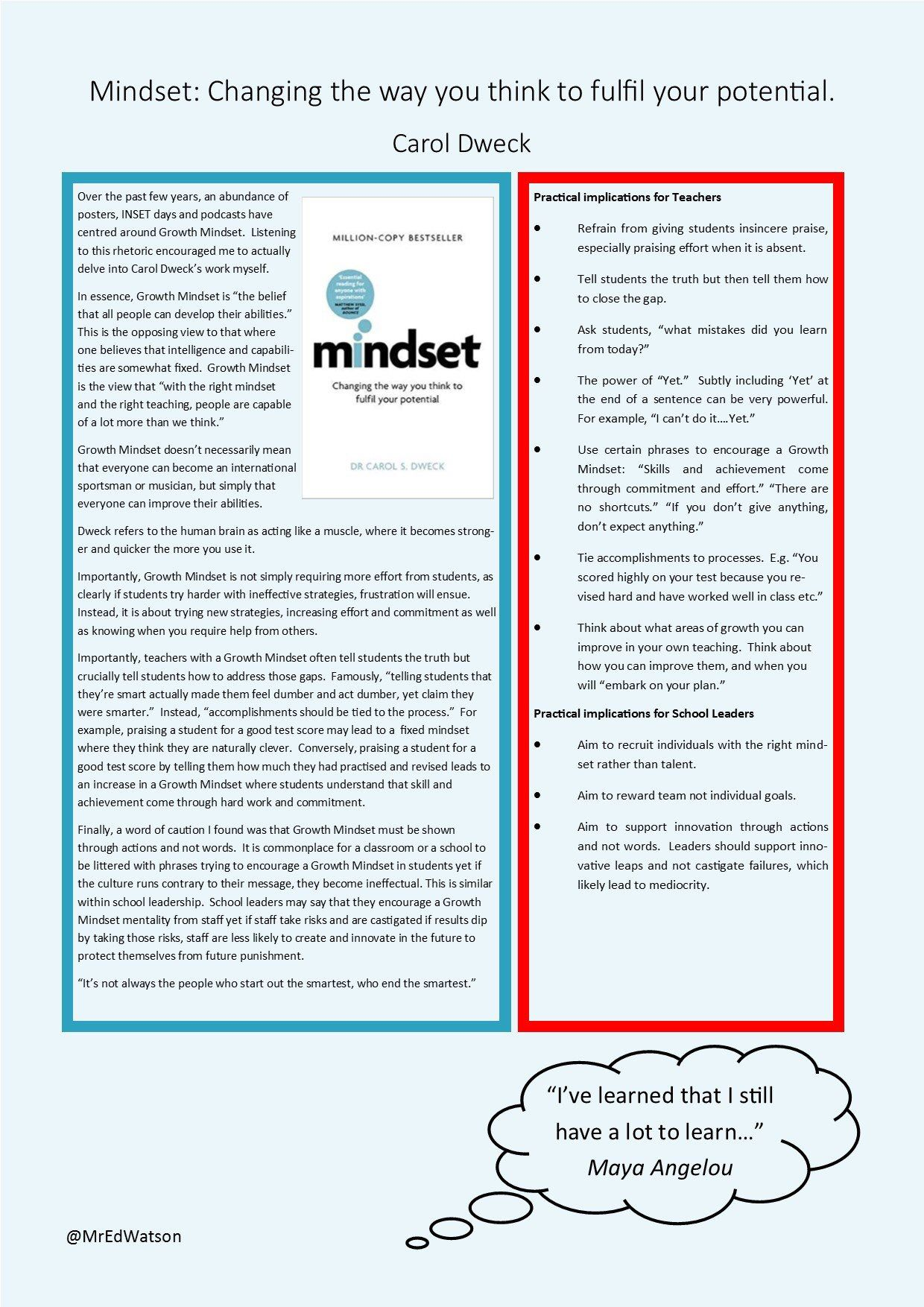 Good overview of growth mindset in brief summary form. https://t.co/uLm7lScR55