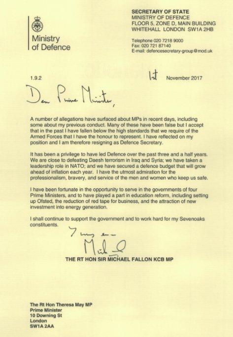 Michael Fallon Resignation Letter Twitter