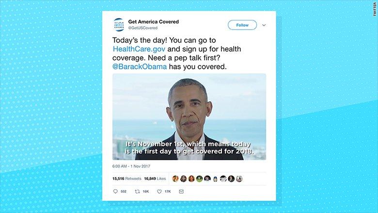 Former President Obama wants you to know Obamacare open enrollment has begun https://t.co/jKMUoEpr8h https://t.co/fVEtH2KzCD