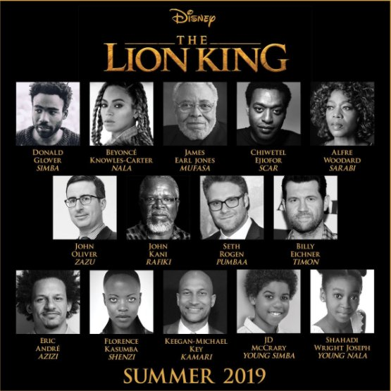 .@Disney's TheLionKing has it's full cast. Read the details here: