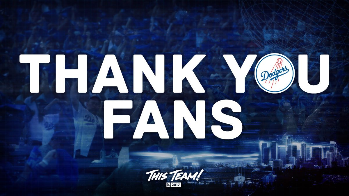 RT @Dodgers: To the best fans in baseball, thank you for being a part of this incredible ride! #ThankYouFans https://t.co/35KJ2AdmOY