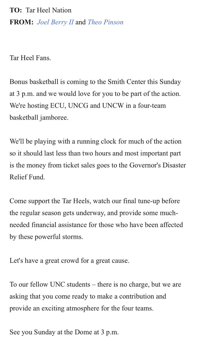 RT @UNC_Basketball: .@tpinsonn and @JoelBerryII want to see YOU at the game on Sunday. Help us help our state https://t.co/ajiKqDFfbw