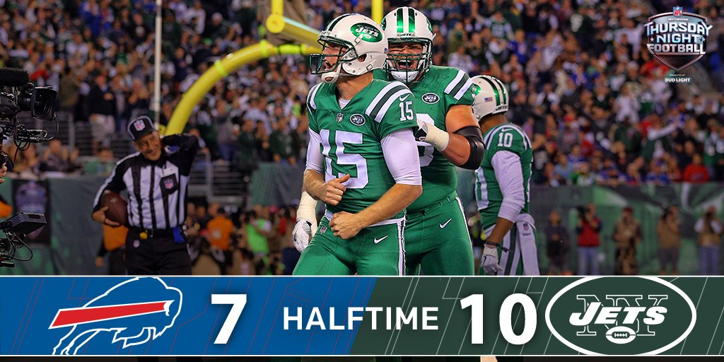 HALFTIME@nyjets 10   @buffalobills 7Josh McCown & Co. lead at the break on #TNF.📺 #BUFvsNYJ   NFL Network