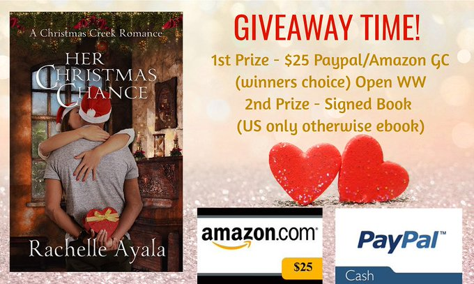 $25 Amazon/PP-2-WW-Signed book (or e-book)-1-Her Christmas Chance-Rachel Ayala-Ends 12/3