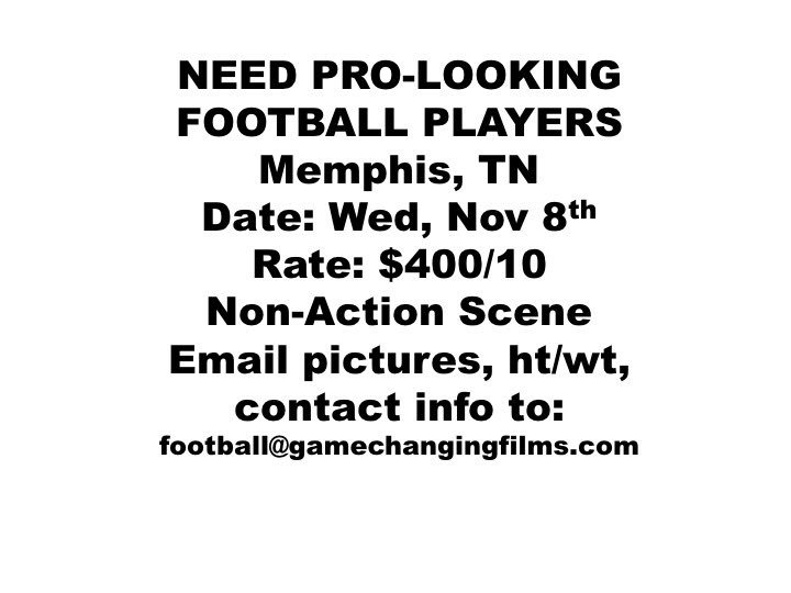 If you are available to work in Memphis, and you look like a professional football player, shoot us an email! https://t.co/xUWSNPQwhp